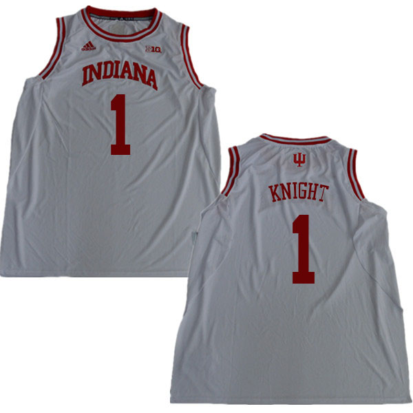 Men #1 Bob Knight Indiana Hoosiers College Basketball Jerseys Sale-White