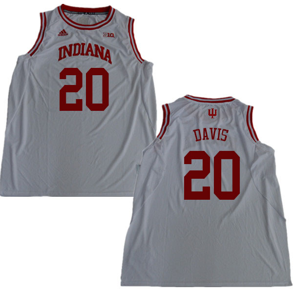 Men #20 De'Ron Davis Indiana Hoosiers College Basketball Jerseys Sale-White