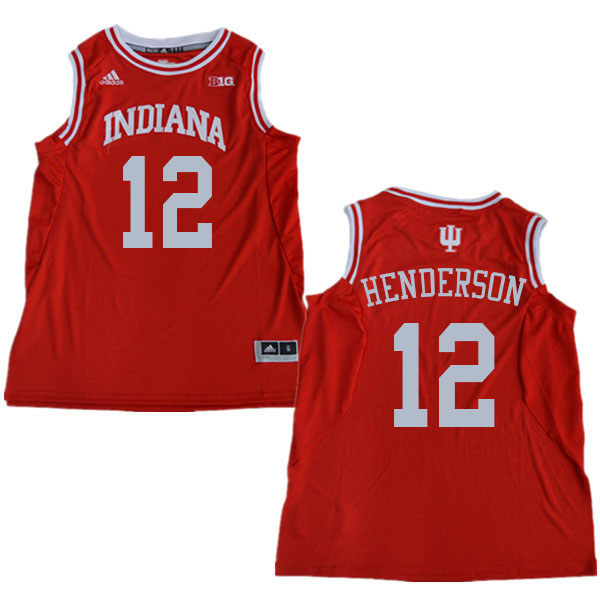 Men #12 Jacquez Henderson Indiana Hoosiers College Basketball Jerseys Sale-Red