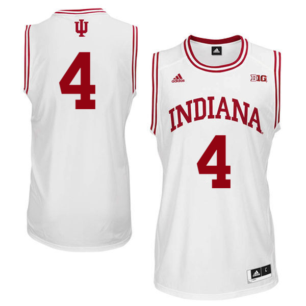 Men Indiana Hoosiers #4 Robert Johnson College Basketball Jerseys Sale-White