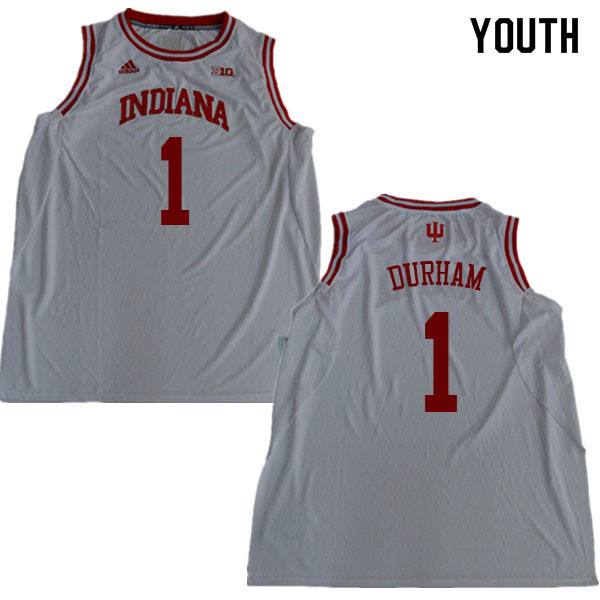 Youth #1 Aljami Durham Indiana Hoosiers College Basketball Jerseys Sale-White