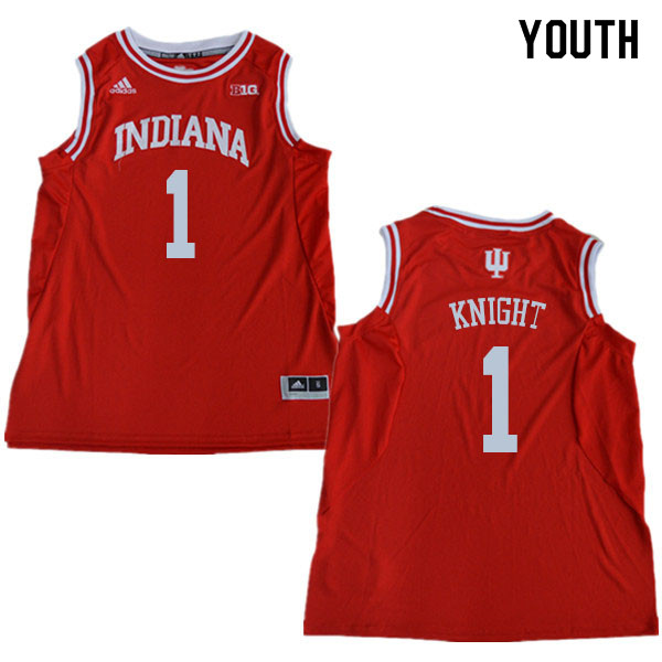 Youth #1 Bob Knight Indiana Hoosiers College Basketball Jerseys Sale-Red