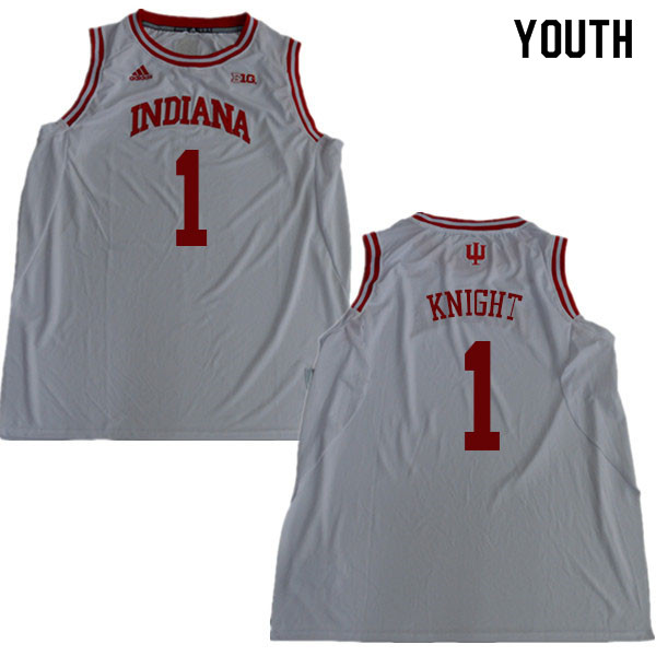 Youth #1 Bob Knight Indiana Hoosiers College Basketball Jerseys Sale-White