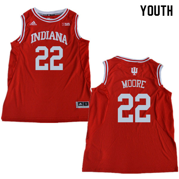 Youth #22 Clifton Moore Indiana Hoosiers College Basketball Jerseys Sale-Red