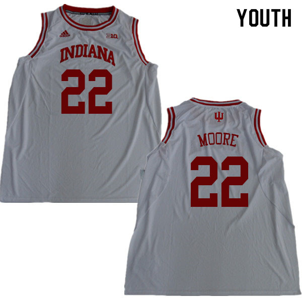 Youth #22 Clifton Moore Indiana Hoosiers College Basketball Jerseys Sale-White