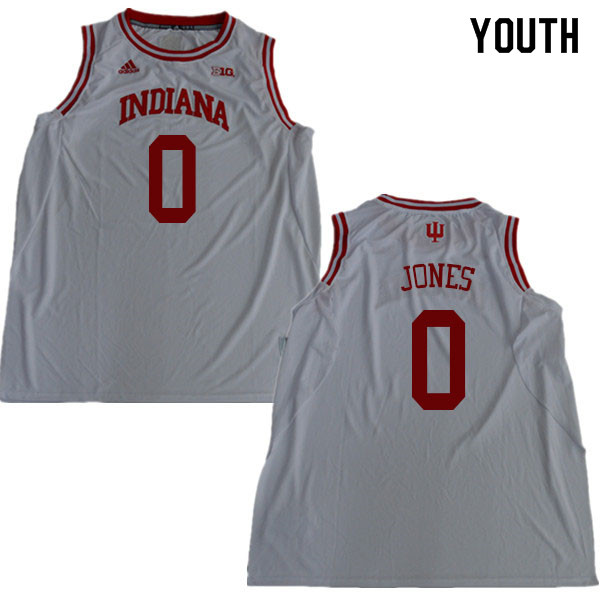 Youth #0 Curtis Jones Indiana Hoosiers College Basketball Jerseys Sale-White