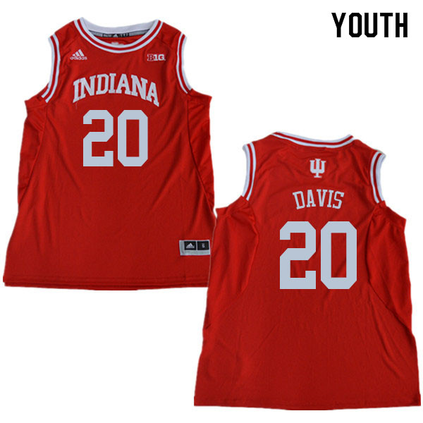 Youth #20 De'Ron Davis Indiana Hoosiers College Basketball Jerseys Sale-Red