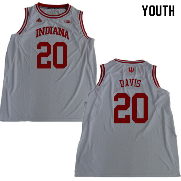 Youth #20 De'Ron Davis Indiana Hoosiers College Basketball Jerseys Sale-White