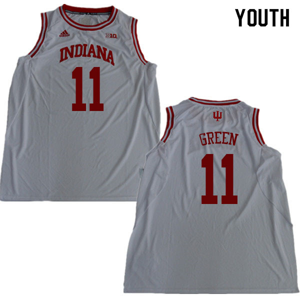 Youth #11 Devonte Green Indiana Hoosiers College Basketball Jerseys Sale-White