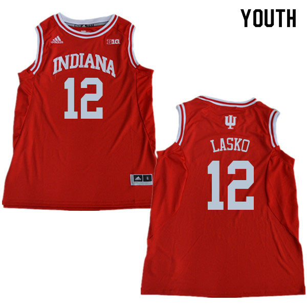 Youth #12 Ethan Lasko Indiana Hoosiers College Basketball Jerseys Sale-Red