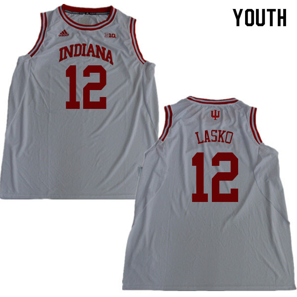 Youth #12 Ethan Lasko Indiana Hoosiers College Basketball Jerseys Sale-White