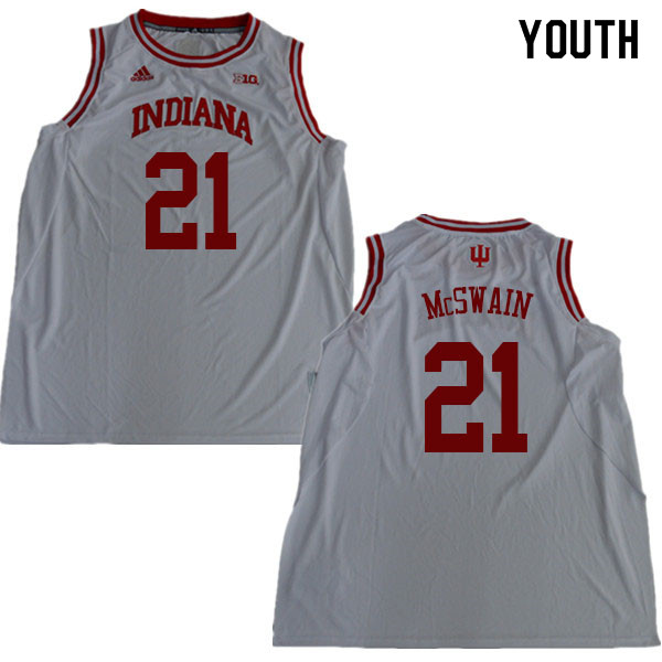 Youth #21 Freddie McSwain Indiana Hoosiers College Basketball Jerseys Sale-White
