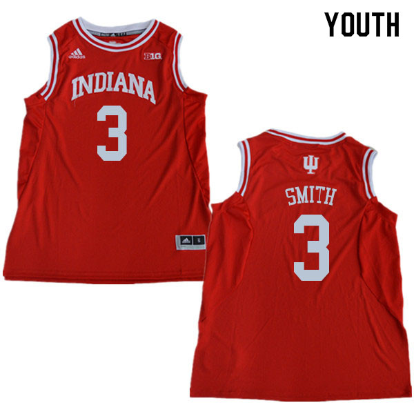 Youth #3 Justin Smith Indiana Hoosiers College Basketball Jerseys Sale-Red