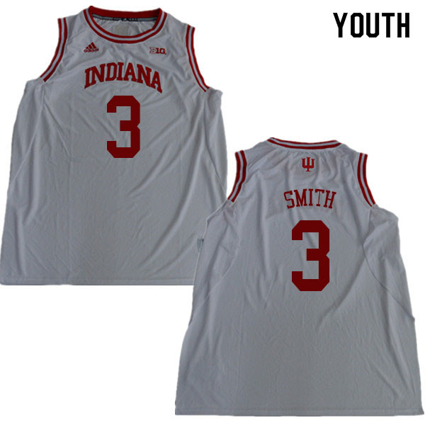 Youth #3 Justin Smith Indiana Hoosiers College Basketball Jerseys Sale-White