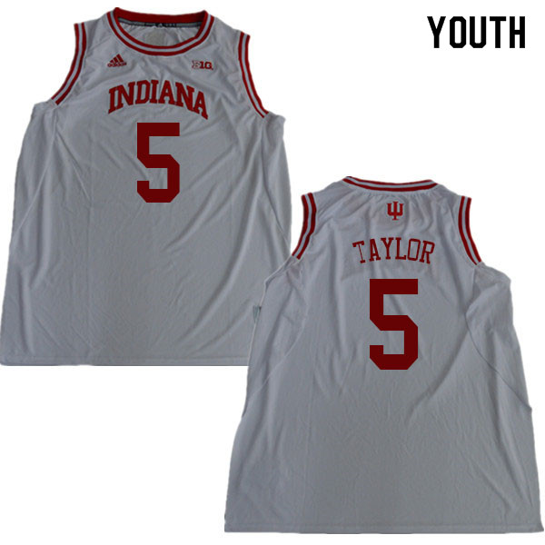 Youth #5 Quentin Taylor Indiana Hoosiers College Basketball Jerseys Sale-White