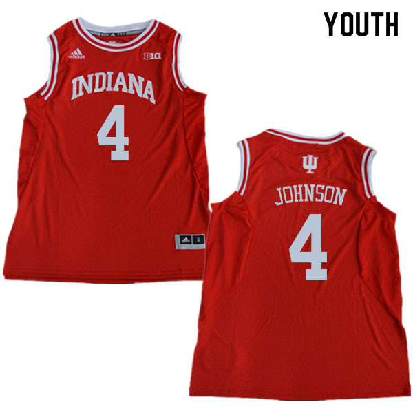 Youth #4 Robert Johnson Indiana Hoosiers College Basketball Jerseys Sale-Red
