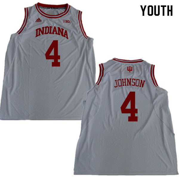 Youth #4 Robert Johnson Indiana Hoosiers College Basketball Jerseys Sale-White