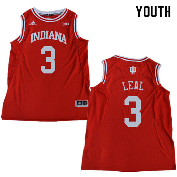 Youth #3 Anthony Leal Indiana Hoosiers College Basketball Jerseys Sale-Red