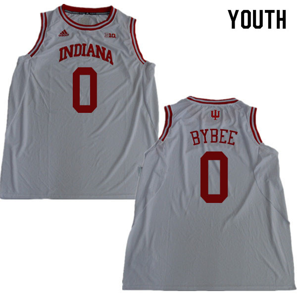 Youth #0 Cooper Bybee Indiana Hoosiers College Basketball Jerseys Sale-White
