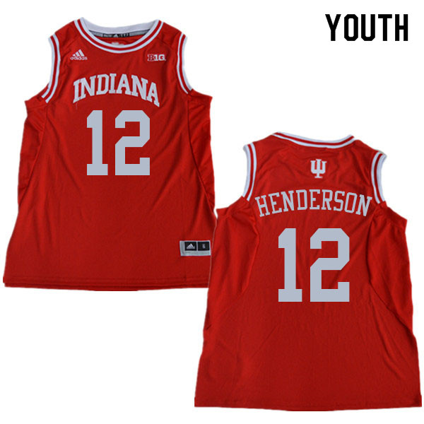 Youth #12 Jacquez Henderson Indiana Hoosiers College Basketball Jerseys Sale-Red