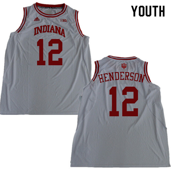 Youth #12 Jacquez Henderson Indiana Hoosiers College Basketball Jerseys Sale-White