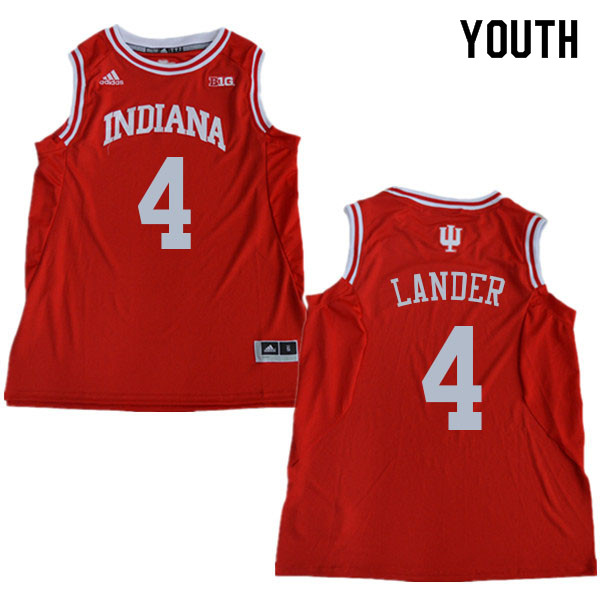 Youth #4 Khristian Lander Indiana Hoosiers College Basketball Jerseys Sale-Red