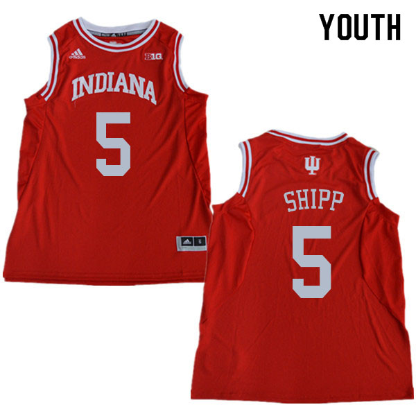 Youth #5 Michael Shipp Indiana Hoosiers College Basketball Jerseys Sale-Red