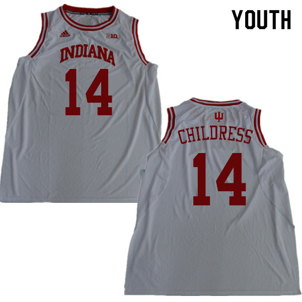 Youth #14 Nathan Childress Indiana Hoosiers College Basketball Jerseys Sale-White